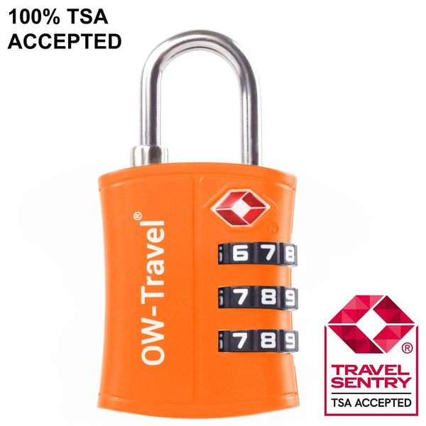 OW Travel TSA Approved Padlocks Luggage Case Locks for Suitcases, Backpacks, Gym Locker - 3 Dial Padlock Orange - TSA Approved Code 3 Dial Padlock