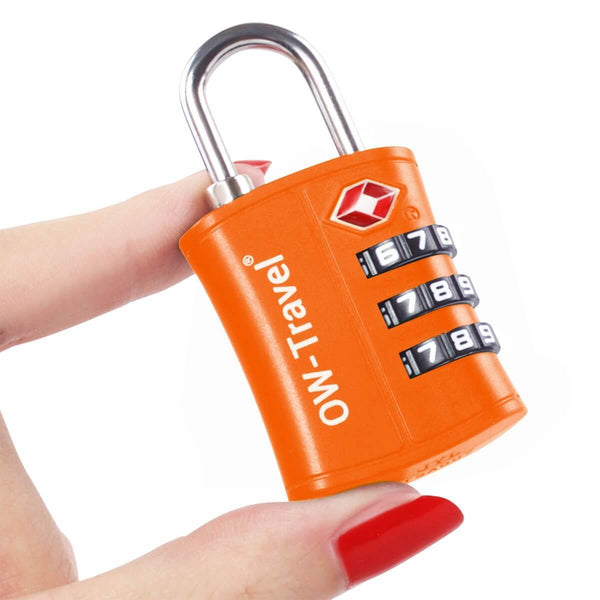 OW Travel TSA Approved Padlocks Luggage Case Locks for Suitcases, Backpacks, Gym Locker - 3 Dial Padlock Orange - Won't Jam Easy Move Dials 3 Dial Padlock