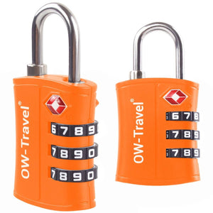 OW Travel TSA Approved Padlocks Luggage Case Locks for Suitcases, Backpacks, Gym Locker - 3 Dial Padlock Orange 2 Pack - Heavy Duty 3 Dial Padlock