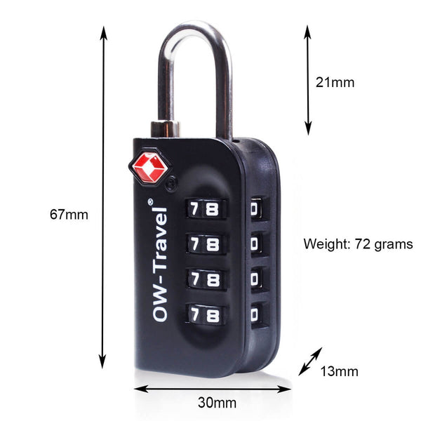 OW Travel TSA Approved Padlocks Luggage Case Locks for Suitcases, Backpacks, Gym Locker - 4 Dial Combination Padlock Black - 4 Dial Padlock Dimensions