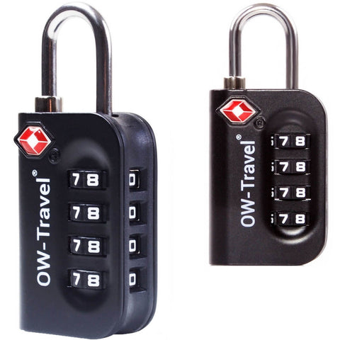 OW Travel TSA Approved Padlocks Luggage Case Locks for Suitcases, Backpacks, Gym Locker - 4 Dial Combination Padlock Black - Bigger Numbers Quickly Reset Pass Code