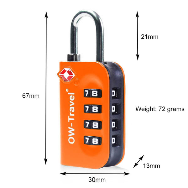 OW Travel TSA Approved Padlocks Luggage Case Locks for Suitcases, Backpacks, Gym Locker - 4 Dial Combination Padlock Orange - 4 Dial Padlock Dimensions