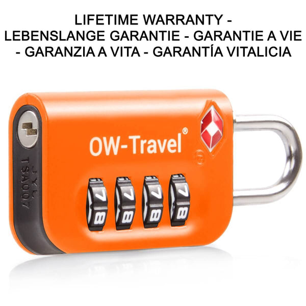 OW Travel TSA Approved Padlocks Luggage Case Locks for Suitcases, Backpacks, Gym Locker - 4 Dial Combination Padlock Orange - Long Lasting Luggage 4 Dial Padlock