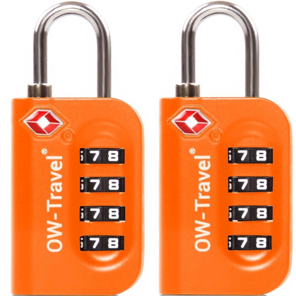 OW Travel TSA Approved Padlocks Luggage Case Locks for Suitcases, Backpacks, Gym Locker - 4 Dial Combination Padlock Orange - Reliable 4 Dial Padlock