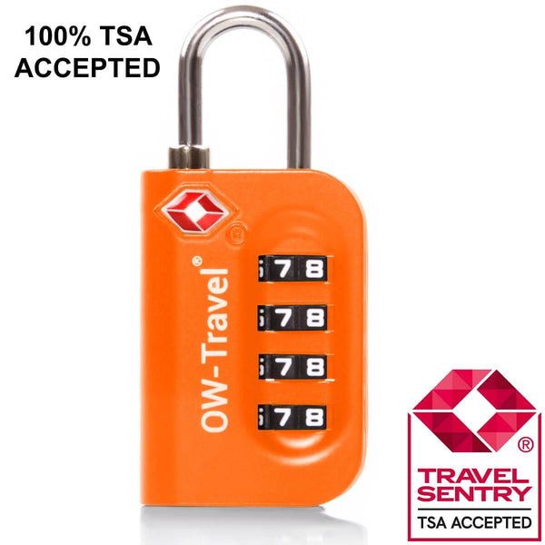 OW Travel TSA Approved Padlocks Luggage Case Locks for Suitcases, Backpacks, Gym Locker - 4 Dial Combination Padlock Orange - TSA Approved Code 4 Dial Padlock