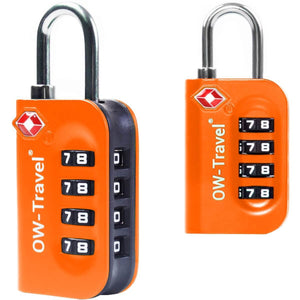 OW Travel TSA Approved Padlocks Luggage Case Locks for Suitcases, Backpacks, Gym Locker - 4 Dial Combination Padlock Orange 2 Pack - Heavy Duty 4 Dial Padlock