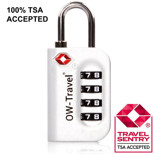 ✅ 4 Dial TSA Combination Padlock - Travel Sentry Approved Heavy Duty Lock for Suitcases, Luggage, Gym Lockers and Tool Boxes - Silver - One-Wear