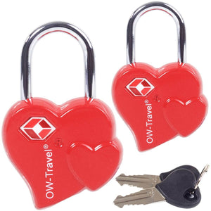 OW Travel TSA Approved Padlocks Luggage Case Locks for Suitcases, Backpacks, Gym Locker - Heart Key Padlock Red 2 Pack - High Quality Heart Key Padlock