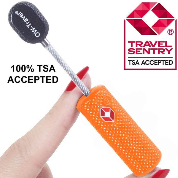 OW Travel TSA Approved Padlocks Luggage Case Locks for Suitcases, Backpacks, Gym Locker - Key Barrel Padlock Orange - TSA Accepted Key Barrel Padlock