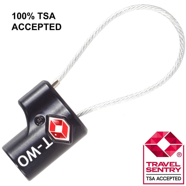 OW Travel TSA Approved Padlocks Luggage Case Locks for Suitcases, Backpacks, Gym Locker - Key Cable Padlock Black - TSA Accepted Key Cable Padlock