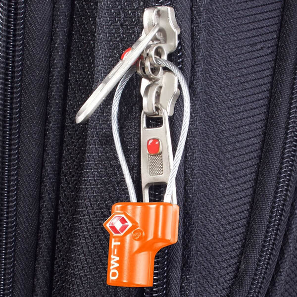 OW Travel TSA Approved Padlocks Luggage Case Locks for Suitcases, Backpacks, Gym Locker - Key Cable Padlock Orange - Lightweight Key Cable Padlock