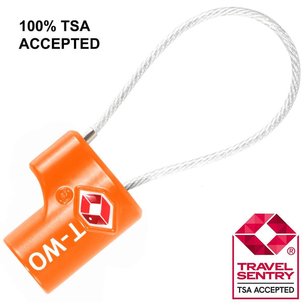 OW Travel TSA Approved Padlocks Luggage Case Locks for Suitcases, Backpacks, Gym Locker - Key Cable Padlock Orange - TSA Accepted Key Cable Padlock