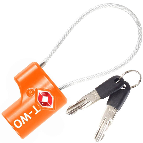 OW Travel TSA Approved Padlocks Luggage Case Locks for Suitcases, Backpacks, Gym Locker - Key Cable Padlock Orange 1 Pack - Heavy Duty Key Cable Padlock