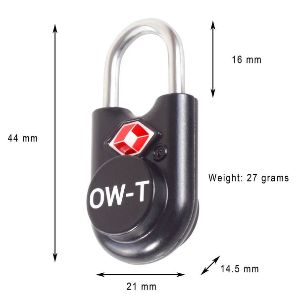 OW Travel TSA Approved Padlocks Luggage Case Locks for Suitcases, Backpacks, Gym Locker - Key Padlock Black - Key Padlock Dimensions