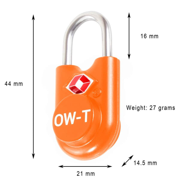 OW Travel TSA Approved Padlocks Luggage Case Locks for Suitcases, Backpacks, Gym Locker - Key Padlock Orange - Key Padlock Dimensions
