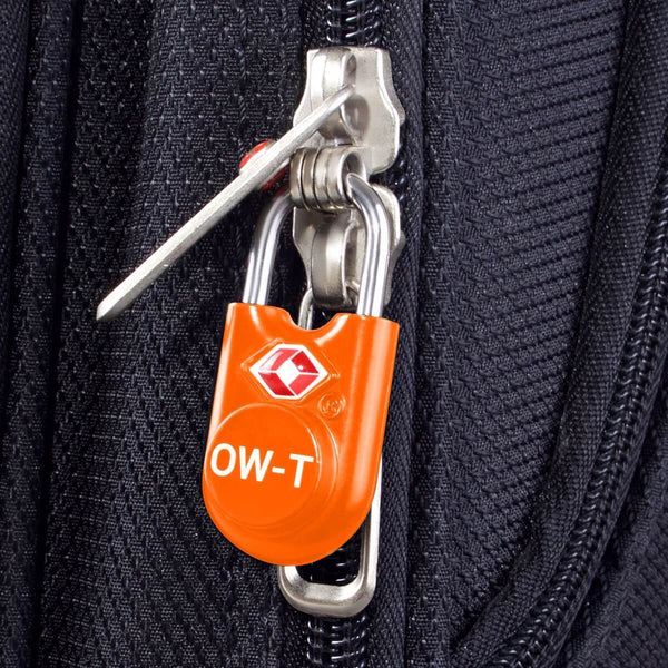 OW Travel TSA Approved Padlocks Luggage Case Locks for Suitcases, Backpacks, Gym Locker - Key Padlock Orange - Lightweight Key Padlock