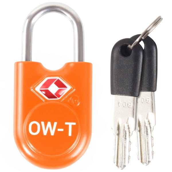 OW Travel TSA Approved Padlocks Luggage Case Locks for Suitcases, Backpacks, Gym Locker - Key Padlock Orange 1 Pack - Heavy Duty Key Padlock
