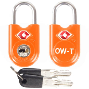 OW Travel TSA Approved Padlocks Luggage Case Locks for Suitcases, Backpacks, Gym Locker - Key Padlock Orange 2 Pack - Heavy Duty Key Padlock
