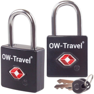 OW Travel TSA Approved Padlocks Luggage Case Locks for Suitcases, Backpacks, Gym Locker - Key Padlock Squared Black 2 Pack - Heavy Duty Key Padlock Squared