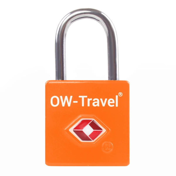 OW Travel TSA Approved Padlocks Luggage Case Locks for Suitcases, Backpacks, Gym Locker - Key Padlock Squared Orange - Durable Key Padlock Squared