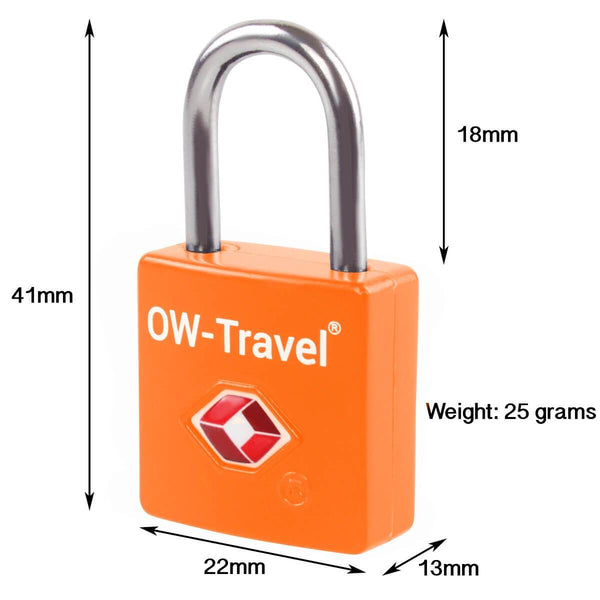 OW Travel TSA Approved Padlocks Luggage Case Locks for Suitcases, Backpacks, Gym Locker - Key Padlock Squared Orange - Key Padlock Squared Dimensions