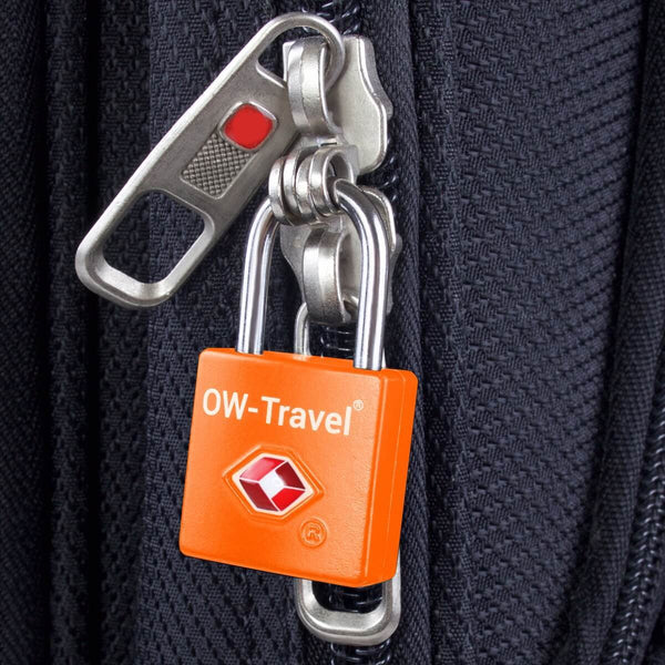OW Travel TSA Approved Padlocks Luggage Case Locks for Suitcases, Backpacks, Gym Locker - Key Padlock Squared Orange - Lightweight Key Padlock Squared