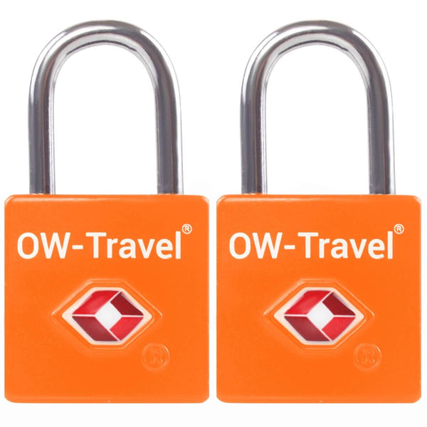 OW Travel TSA Approved Padlocks Luggage Case Locks for Suitcases, Backpacks, Gym Locker - Key Padlock Squared Orange - Reliable Key Padlock Squared