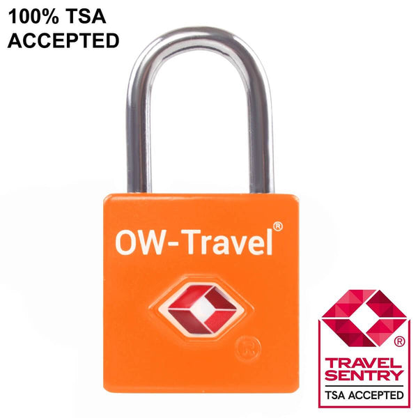 OW Travel TSA Approved Padlocks Luggage Case Locks for Suitcases, Backpacks, Gym Locker - Key Padlock Squared Orange - TSA Accepted Key Padlock Squared