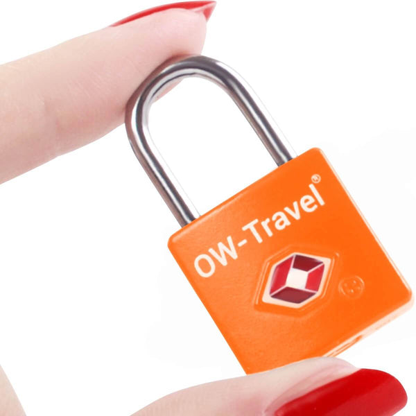 OW Travel TSA Approved Padlocks Luggage Case Locks for Suitcases, Backpacks, Gym Locker - Key Padlock Squared Orange - Won't Jam Key Padlock Squared