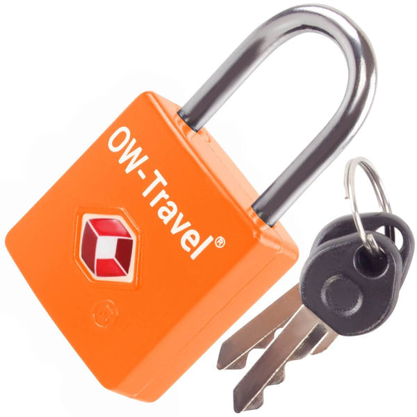 OW Travel TSA Approved Padlocks Luggage Case Locks for Suitcases, Backpacks, Gym Locker - Key Padlock Squared Orange 1 Pack - Heavy Duty Key Padlock Squared