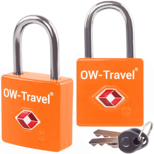 OW Travel TSA Approved Padlocks Luggage Case Locks for Suitcases, Backpacks, Gym Locker - Key Padlock Squared Orange 2 Pack - Heavy Duty Key Padlock Squared