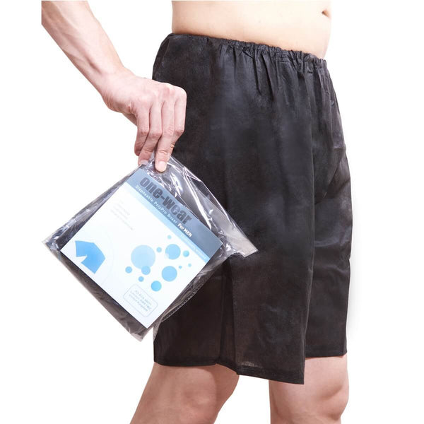 One-Wear Disposable Boxer Shorts Underpants for Hospital Travel Spa and Emergency - PolyPro Black - Perfect Fit Disposable Boxer Shorts