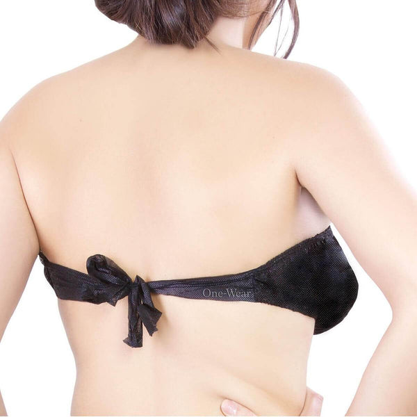 One-Wear Disposable Underwear Bras Not Paper for Maternity Hospital Travel Beach Trips Massage Waxing and Emergency - PolyPro Black - Elasticated Perfect Fit Disposable PolyPro Bra