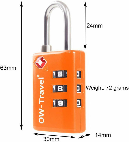 ✅ 3 Dial TSA Combination Padlock with INSPECTION SEARCH ALERT - Travel Sentry Approved Heavy Duty Number Lock for Suitcases, Luggage, Gym Lockers and Tool Boxes - One-Wear