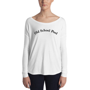 Old School Pool front Ladies' Long Sleeve Tee
