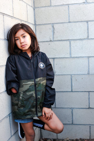 Youth color block windbreaker Camo