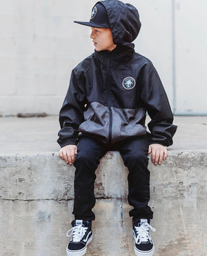 Youth color block windbreaker Graphite