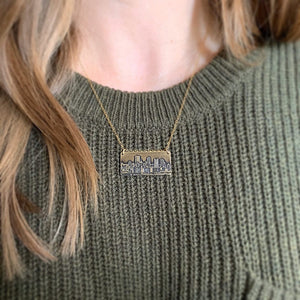 handmade skyline pendant etched skyline necklace