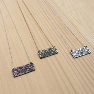 etched lace bar necklace
