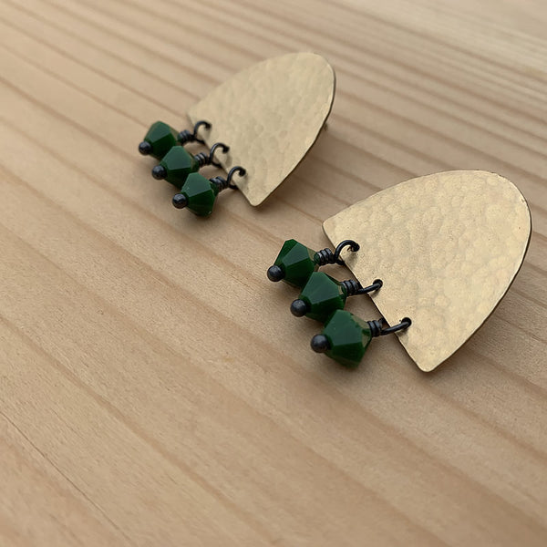 beaded brass stud earrings with green glass beads