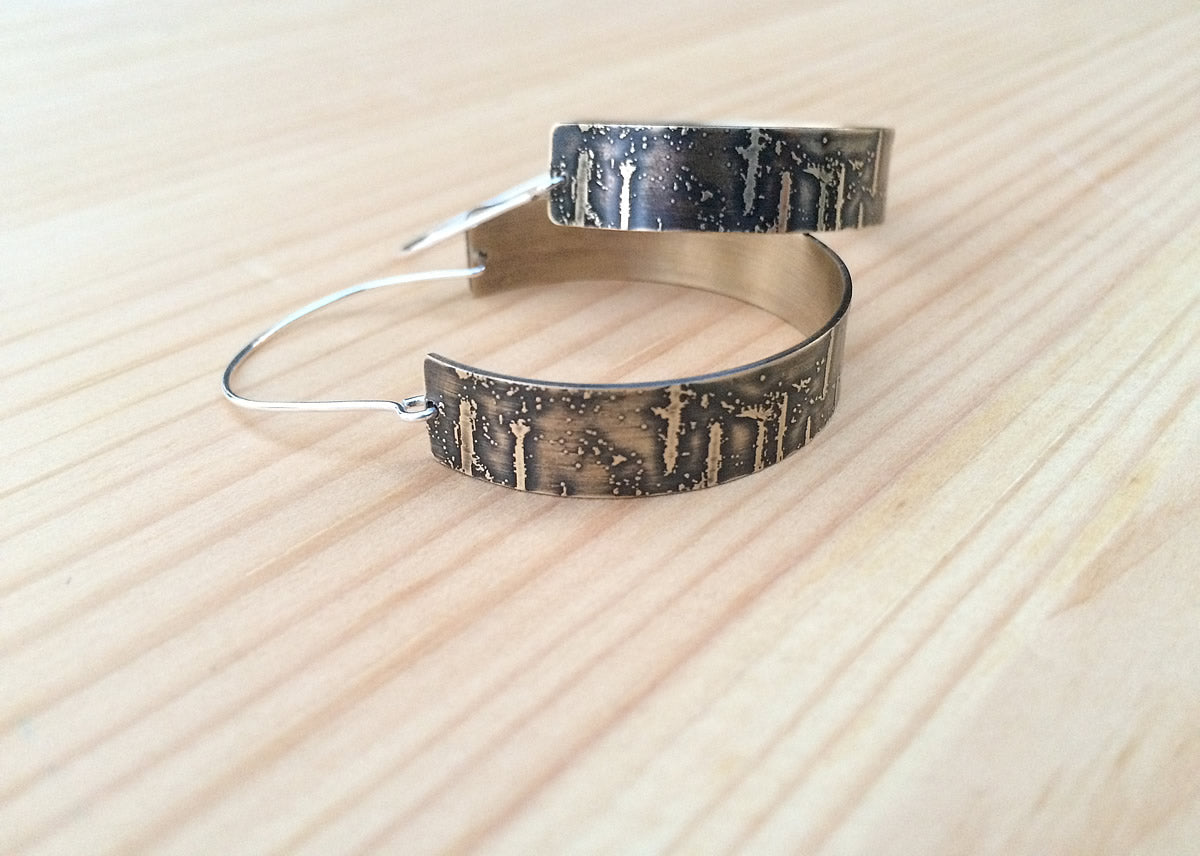 etched birch bark hoop earrings in brass jaci riley jewelry