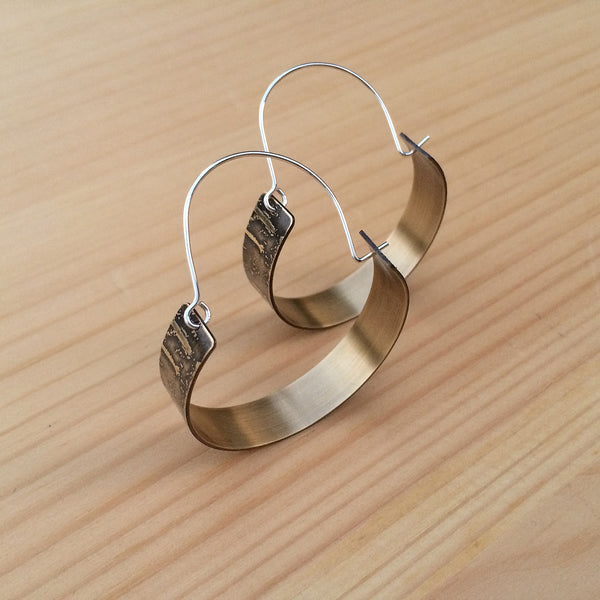 etched birch bark hoop earrings in brass and sterling silver jaci riley jewelry