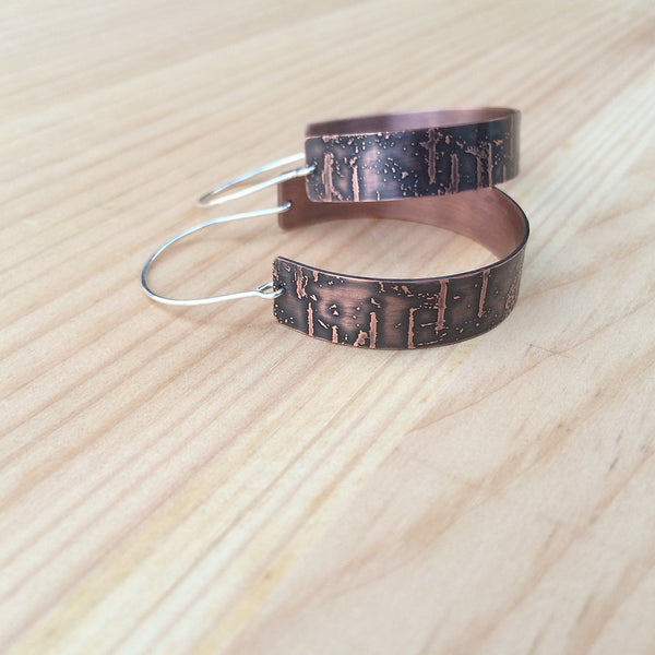 copper birch bark hoop earrings jaci riley jewelry