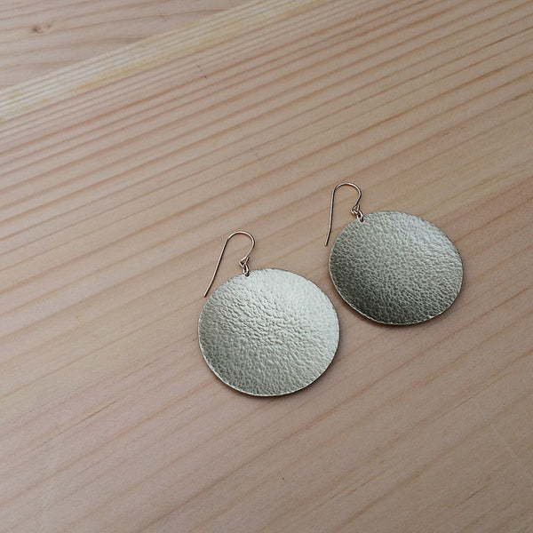 brass or copper hammered disc earrings