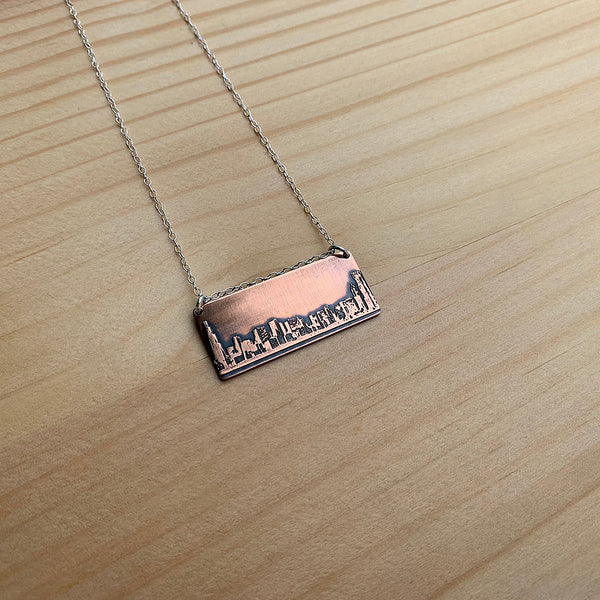 copper and sterling silver chicago skyline necklace jaci riley jewelry