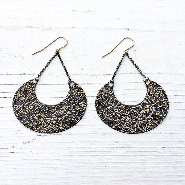 etched lace crescent earrings