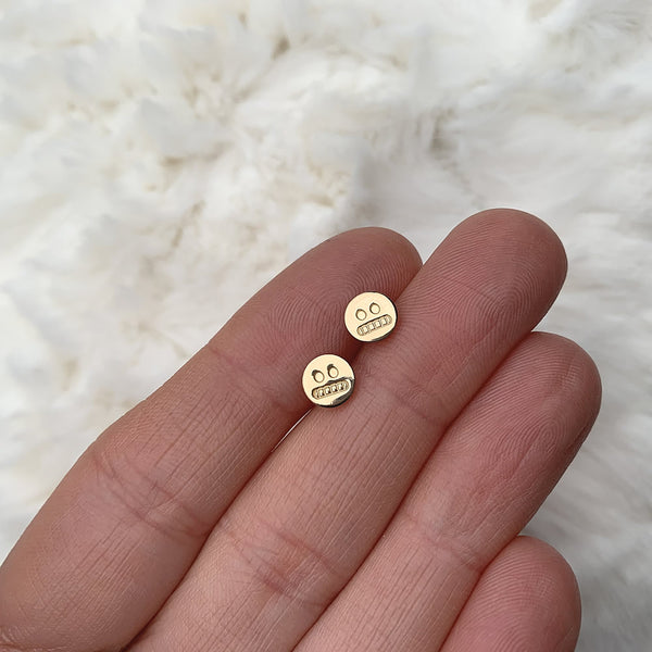 cringe face studs in 14k gold fill
