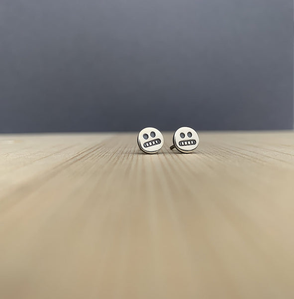 cringe face studs in sterling silver