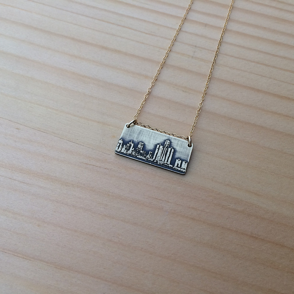 Detroit Michigan skyline necklace
