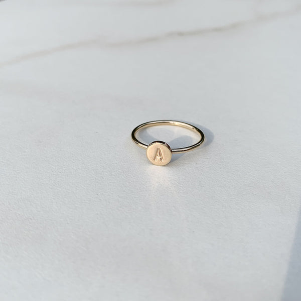 hand stamped letter ring in sterling silver or 14k gold fill | initial ring | stacking ring